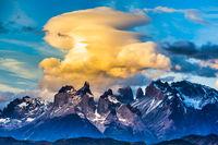 Magnificent cumulus clouds in the sunset