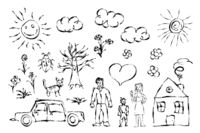 Cute child`s hand drawn objects like family, flowers, house, grass, tree, sun and cat on white