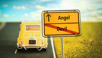 Street Sign to Angel versus Devil
