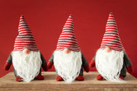 three Christmas gnomes with white beards