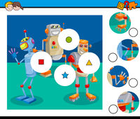 match pieces puzzle game with robots