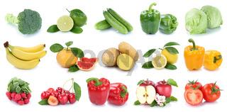 Obst und Gemüse Früchte Apfel Banane Tomaten Farben frische Collage Freisteller freigestellt isoliert