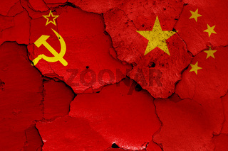 flags of Soviet Union and China