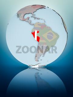 Peru on political globe