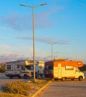 Caravan car parking old van