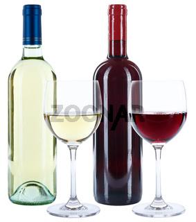 Weinflaschen Weinglas Wein Flaschen Glas Weine Rotwein Weißwein Alkohol freigestellt Freisteller