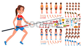 Athletics Player Male, Female Vector. Athlete Animated Character Creation Set. Man, Woman Full Length, Front, Side, Back View, Accessories, Poses, Face Emotions, Gestures. Flat Cartoon Illustration