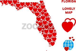 Vector Lovely Florida Map Collage of Hearts