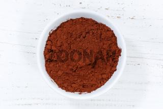 Kakao Pulver Kakaopulver von oben Holzbrett