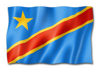 Democratic Republic of the Congo flag isolated on white