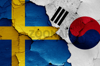 flags of Sweden and South Korea