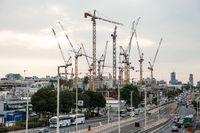 Construction site of high rise building in Petah Tikva. Israel.