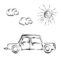 Cute child's hand drawn car with sun and clouds on white