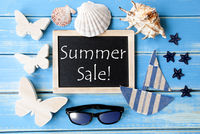 Blackboard With Maritime Decoration And Text Summer Sale