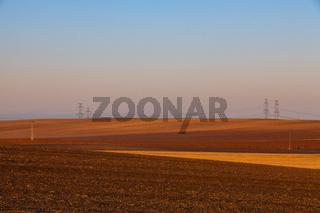 Autumn landscape with agricultural land,Czech Republic.