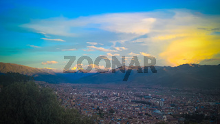 Aerial panoramic view to Cuzco, Peru
