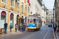 Tram Lisbon Old Town street