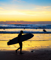 Surfer silhouette beach sunset Bali