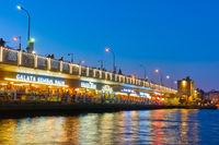 The Galata Bridge in Istanbul at night