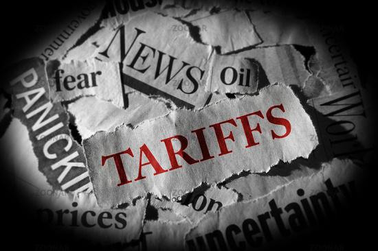 Tariff newspaper headlines