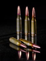 Ammunition cartridges on black background