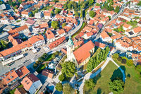 Samobor main square and church tower aerial view