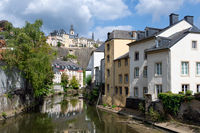 Grund downtown Luxembourg city, Houses and trees along Alzette river