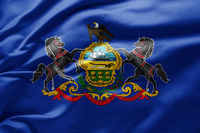 Waving state flag of Pennsylvania - United States of America
