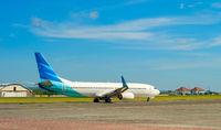 Airplane takeoff Bali airport runway