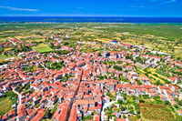 Town of Vodnjan and Brijuni archipelago aerial view