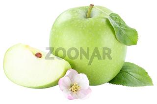 Apfel grün grüner Blüte Frucht geschnitten Freisteller freigestellt isoliert