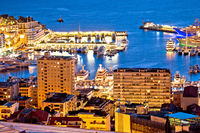 Monte Carlo yachting harbor and colorful waterfront evening view