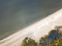 drone View on the sandy seashore. Gulf of Finland