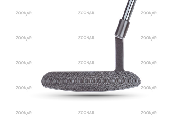 Textured Face of Golf Club Putter Isolated on a White Background