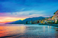 The tourist resort of Camogli on the Italian Riviera in the Metropolitan City of Genoa