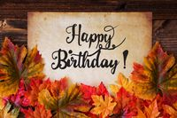 Old Paper With Text Happy Birthday, Colorful Leaves Decoration