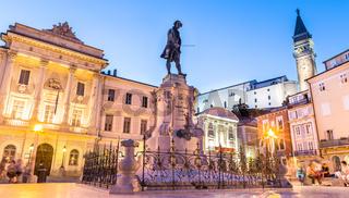 Tartini Square in old tourist costal Mediterranean town of Piran, Slovenia.