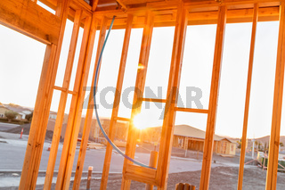 View of Sunset From Inside New Home Construction Site