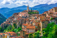 View of Apricale in the Province of Imperia