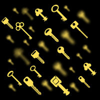 Metallic Keys Isolated. Yellow Key Pattern