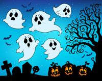 Halloween image with ghosts theme 9