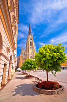 Novi Sad square and cathedral colorful view
