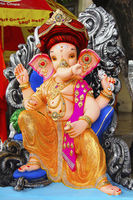Lord Ganapati sculpture wearing Puneri Pagadi, during Ganesh Festival, Pune