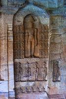 Cave 4 : Jaina Tirthankara images engraved on the inner wall. Badami caves, Badami, Karnataka.