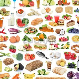 Sammlung Collage Essen gesunde Ernährung Obst und Gemüse Früchte Hintergrund Quadrat Lebensmittel Freisteller