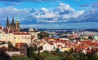 Prague Castle and Saint Vitus Cathedral at summer day
