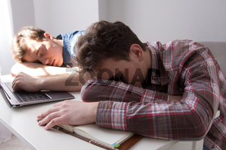 Two boys studying together at home.