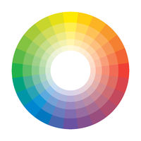 Polychrome Multicolor Spectral Rainbow Circle of 24 segments. The spectral harmonic colorful palette of the painter.