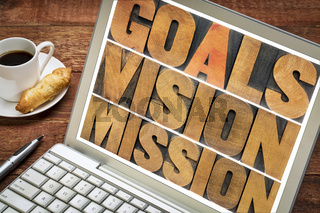goals, vision, mission concept on laptop