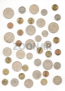 Old Turkish Coins Collection on Isolated White Background